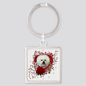 Valentine_Red_Rose_Bichon_Frise Square Keychain