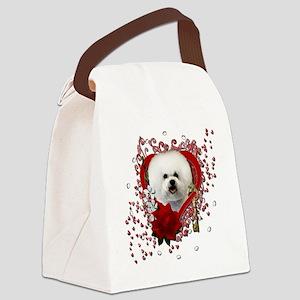 Valentine_Red_Rose_Bichon_Frise Canvas Lunch Bag