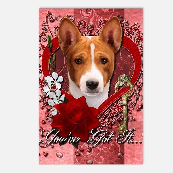 Valentine_Red_Rose_Basenj Postcards (Package of 8)