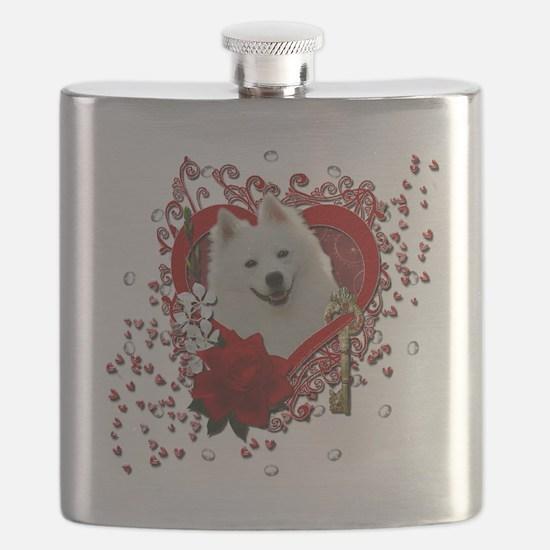 Valentine_Red_Rose_American_Eskimo Flask