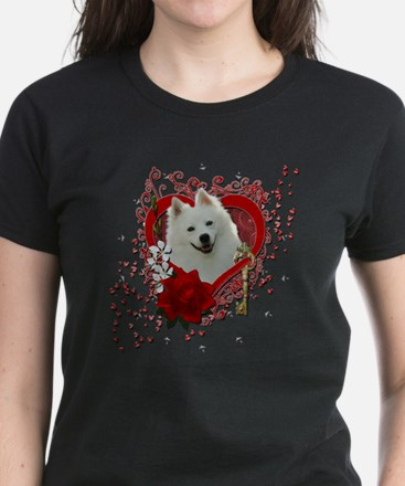 Valentine_Red_Rose_American_E Women's Dark T-Shirt