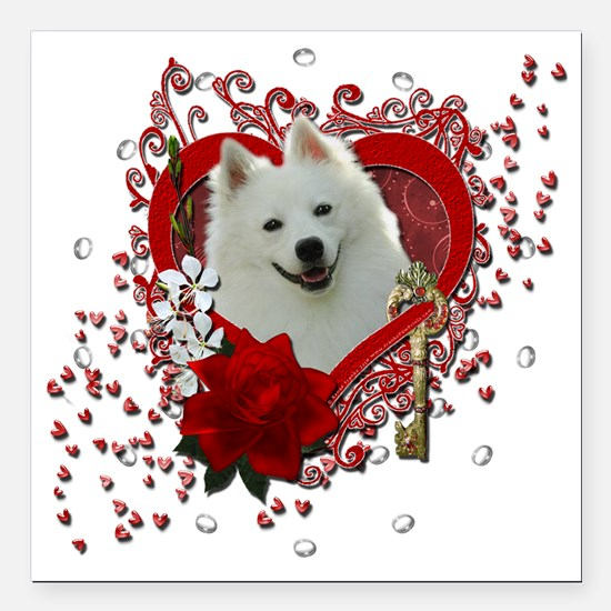 "Valentine_Red_Rose_Ameri Square Car Magnet 3"" x 3"""