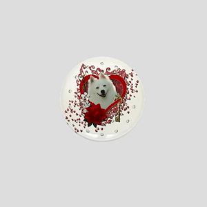Valentine_Red_Rose_American_Eskimo Mini Button