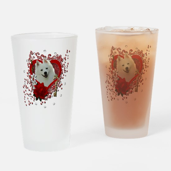 Valentine_Red_Rose_American_Eskimo Drinking Glass