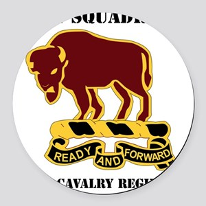 1-1O CAV RGT WITH TEXT Round Car Magnet