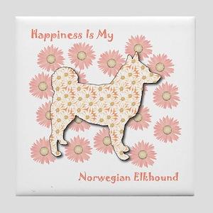 Elkhound Happiness Tile Coaster