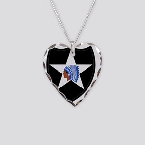 2nd Infantry Division Necklace Heart Charm
