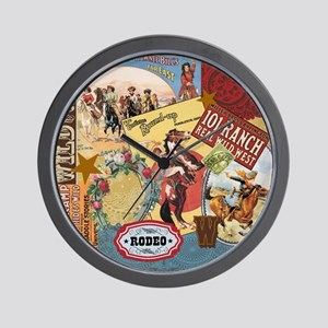 Vintage Western cowgirl collage Wall Clock