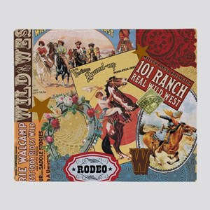 Vintage Western cowgirl collage Throw Blanket