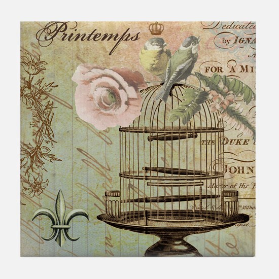 Vintage French Shabby chic birdcage Tile Coaster