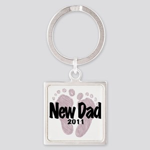 New Dad 2011 (Girl) Square Keychain