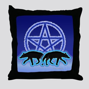 Wolves Pentacle Throw Pillow
