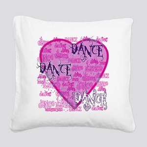 dance dance dance purple text Square Canvas Pillow