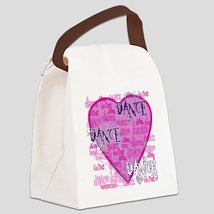 dance dance dance purple text cop Canvas Lunch Bag