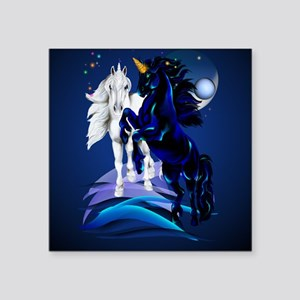 "Two Unicorn Stallions2_pill Square Sticker 3"" x 3"""