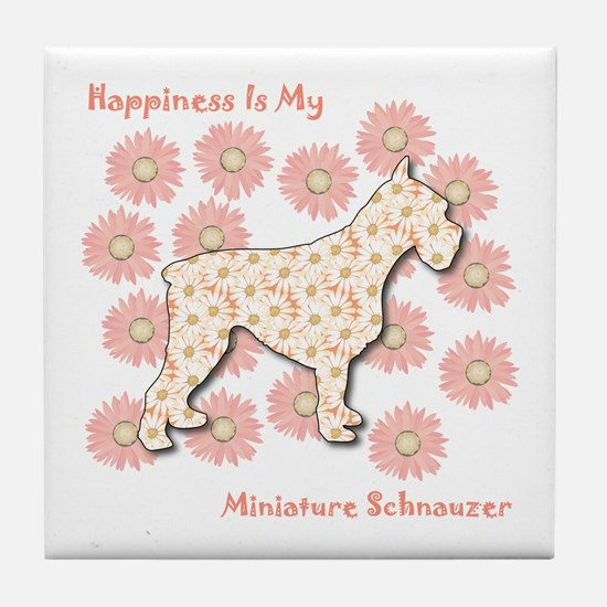 Schnauzer Happiness Tile Coaster