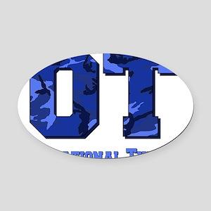 camo letters dark blue Oval Car Magnet