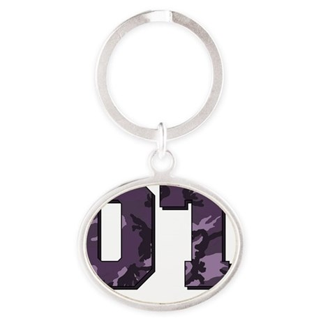 camo letters purple Oval Keychain