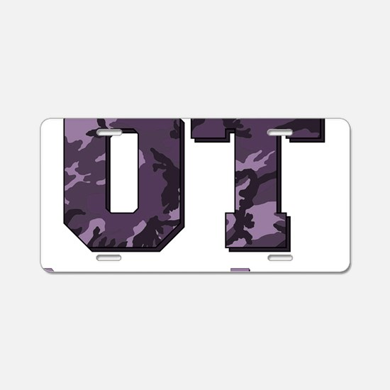 camo letters purple Aluminum License Plate