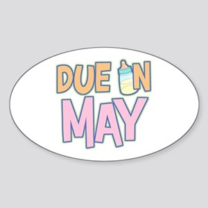 Due In May Girl Oval Sticker
