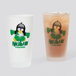 Organ-Donation-Fighting-Penguin Drinking Glass