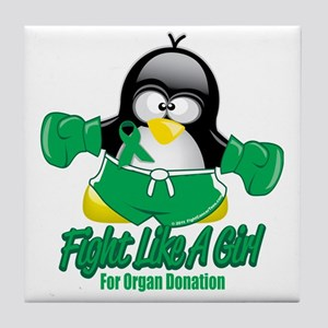 Organ-Donation-Fighting-Penguin Tile Coaster