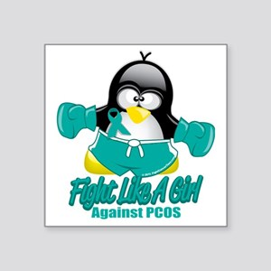 "PCOS-Fighting-Penguin Square Sticker 3"" x 3"""