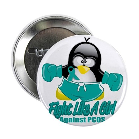 """PCOS-Fighting-Penguin 2.25"""" Button"""