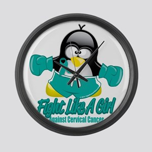 Cervical-Cancer-Fighting-Penguin Large Wall Clock