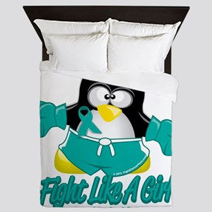 Cervical-Cancer-Fighting-Penguin Queen Duvet
