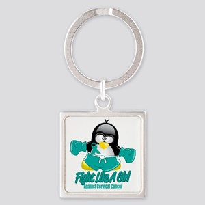Cervical-Cancer-Fighting-Penguin Square Keychain