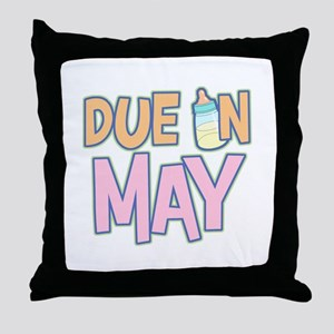 Due In May Girl  Throw Pillow