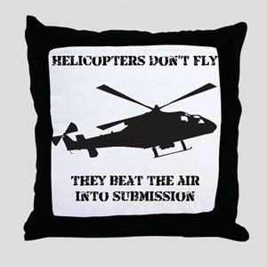 Helicopter Submission Black Throw Pillow
