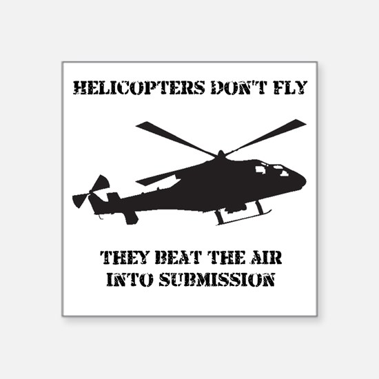"""Helicopter Submission Black Square Sticker 3"""" x 3"""""""