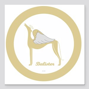 """BALISTER ANGEL GREY gold Square Car Magnet 3"""" x 3"""""""