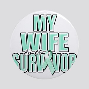 My Wife is a Survivor (teal) Round Ornament