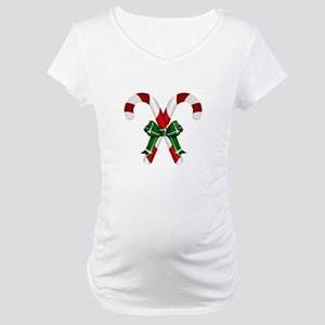 Christmas Candy Cane With Bows Maternity T-Shirt
