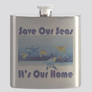 Turtles  Dolphins square Flask