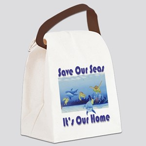 Turtles  Dolphins square Canvas Lunch Bag