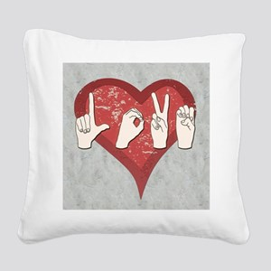 LoveASL2 Square Canvas Pillow
