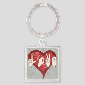 LoveASL2 Square Keychain