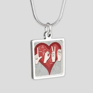LoveASL2 Silver Square Necklace