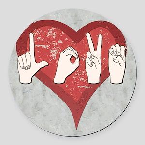 LoveASL2 Round Car Magnet