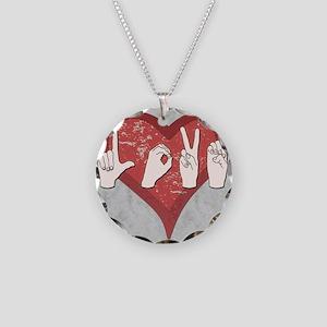 LoveASL2 Necklace Circle Charm