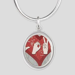 LoveASL2 Silver Oval Necklace
