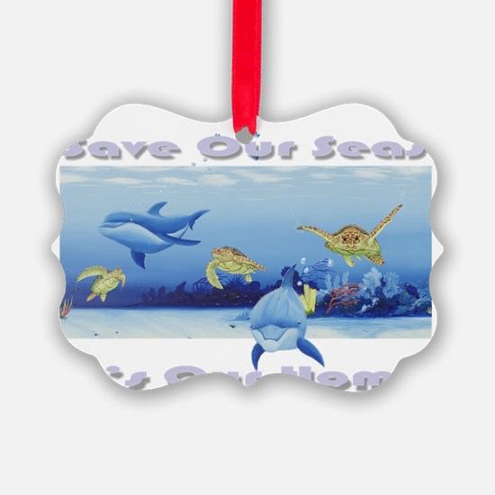 3 turtles  Dolphins for dark Ornament