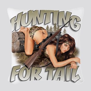 CP1008-HuntingForTail-Pinup Woven Throw Pillow