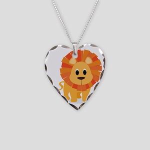 lion Necklace Heart Charm