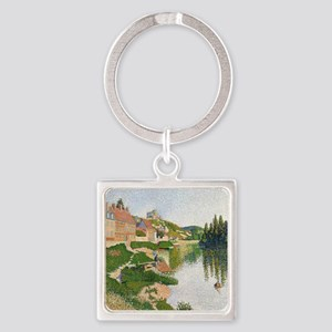 The River Bank, Petit-Andely by Pa Square Keychain