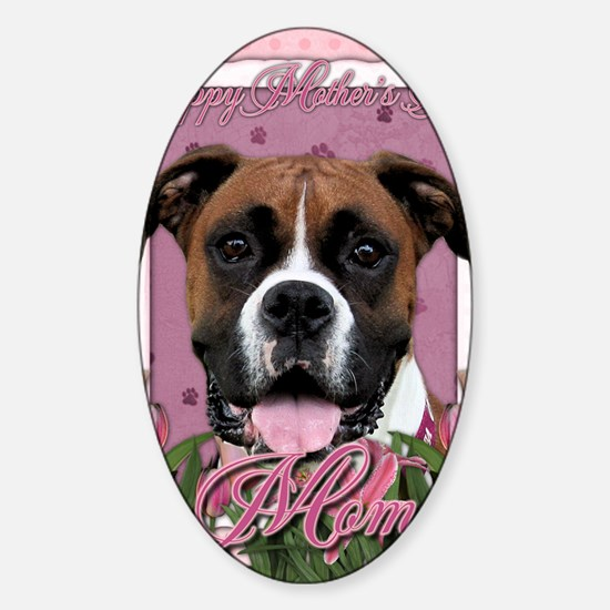 Mothers_Day_Pink_Tulips_Boxer_Vindy Sticker (Oval)